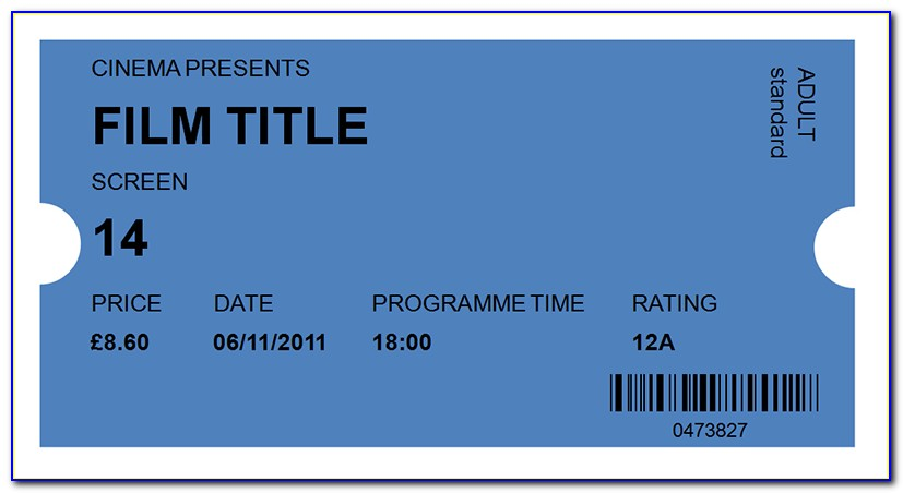 Movie Ticket Template Black And White