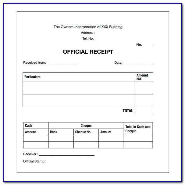 Moving Receipt Format