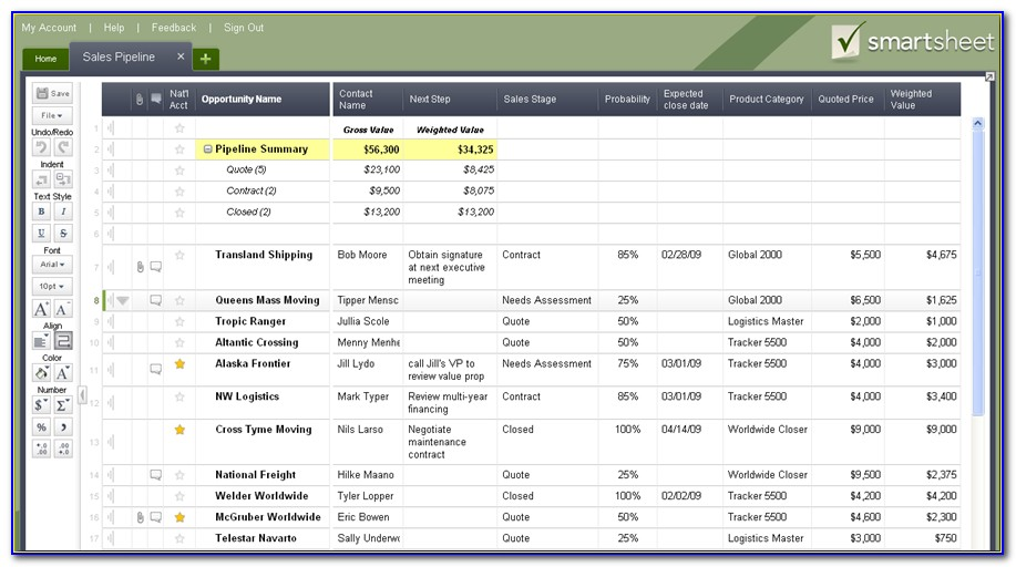Ms Excel Sales Pipeline Template