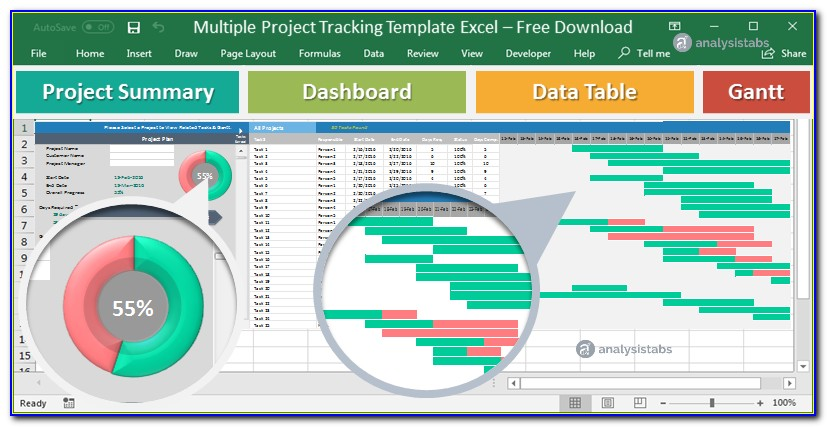 Multiple Project Tracking Template Excel Dashboard