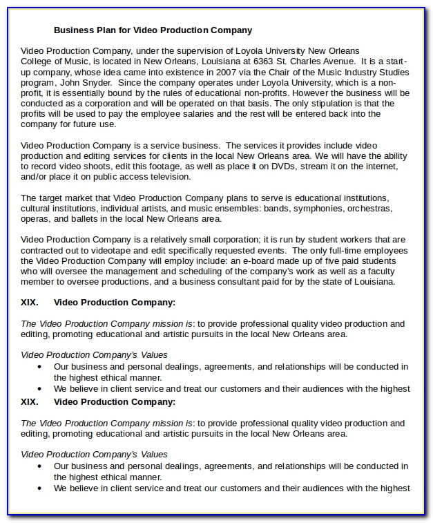 Music Production Company Business Plan Template