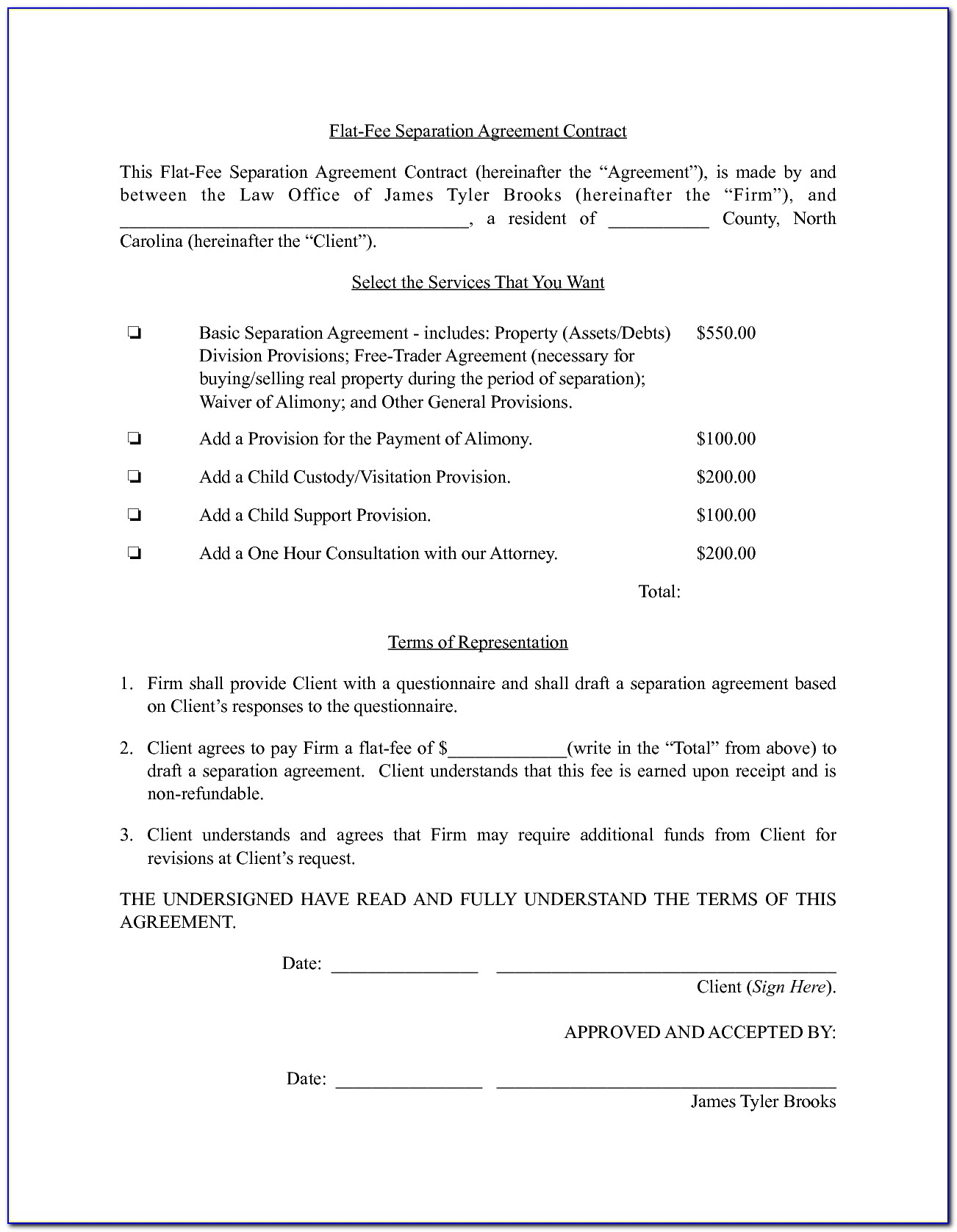 Nc Separation Agreement With Custody Template