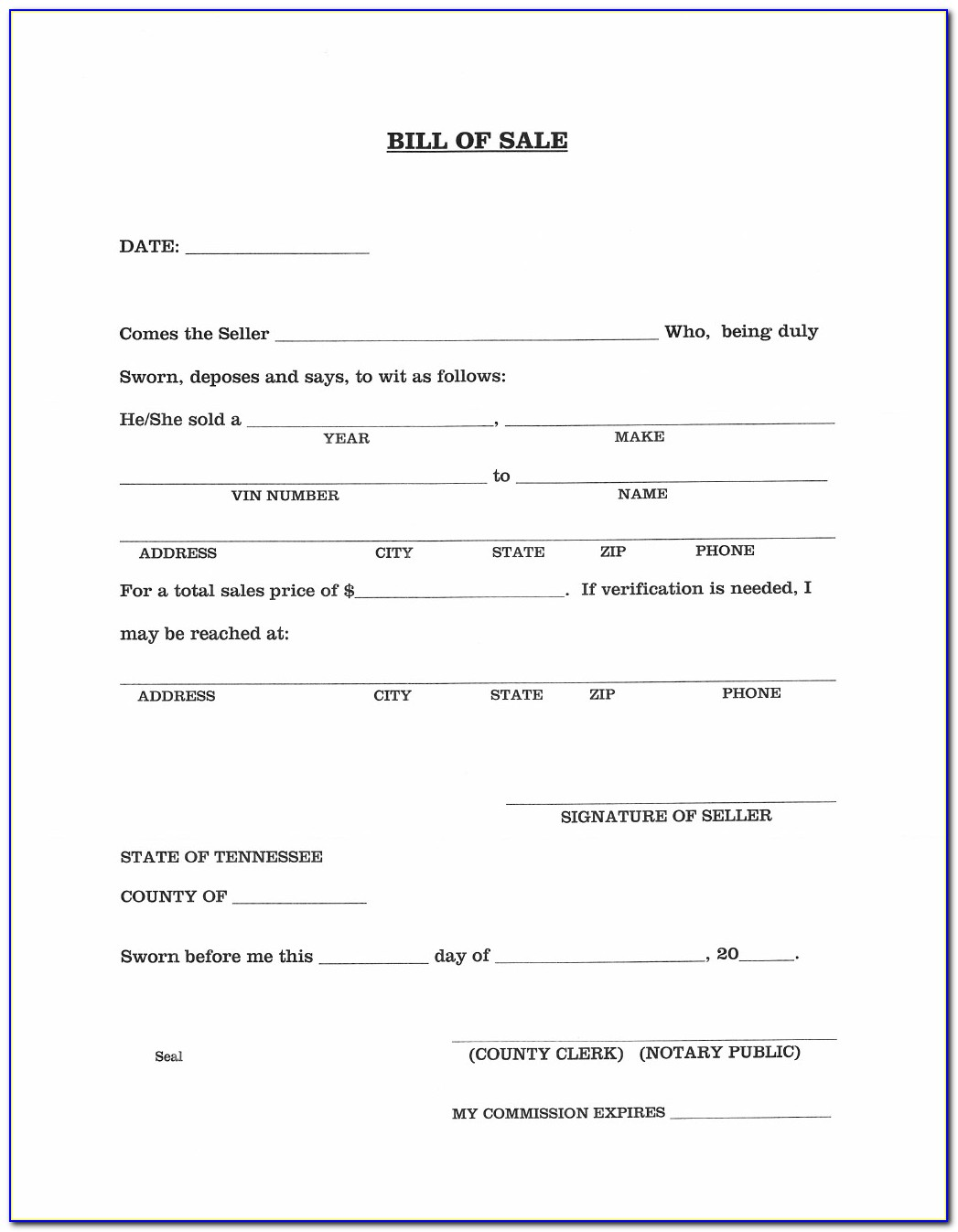 Nc Vehicle Bill Of Sale Template Fillable Pdf