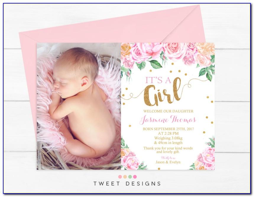 Newborn Baby Girl Announcement Template Postcard