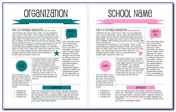 Newsletter Templates Word School