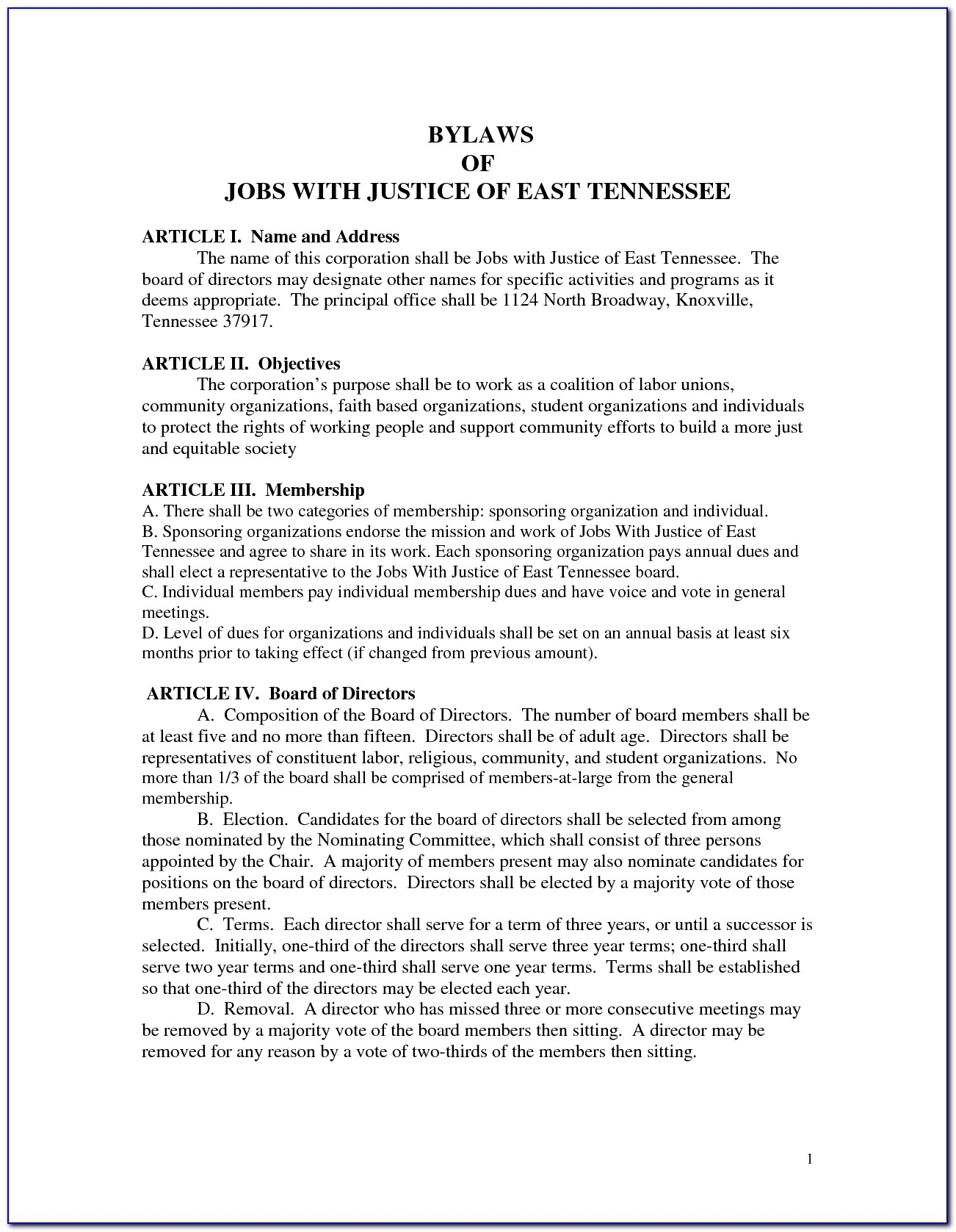 Non Profit Bylaws Template Tennessee