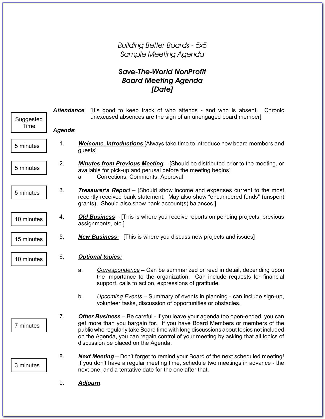 Nonprofit Board Meeting Agenda Template