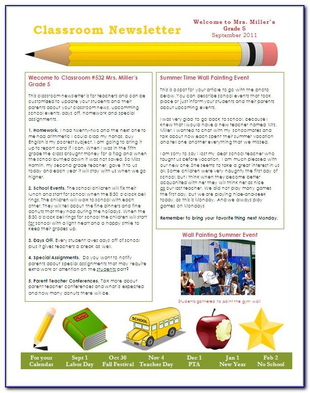 Parent Teacher Newsletter Templates