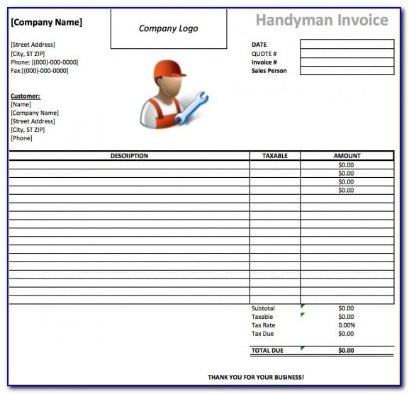 Parts And Labor Invoice Template