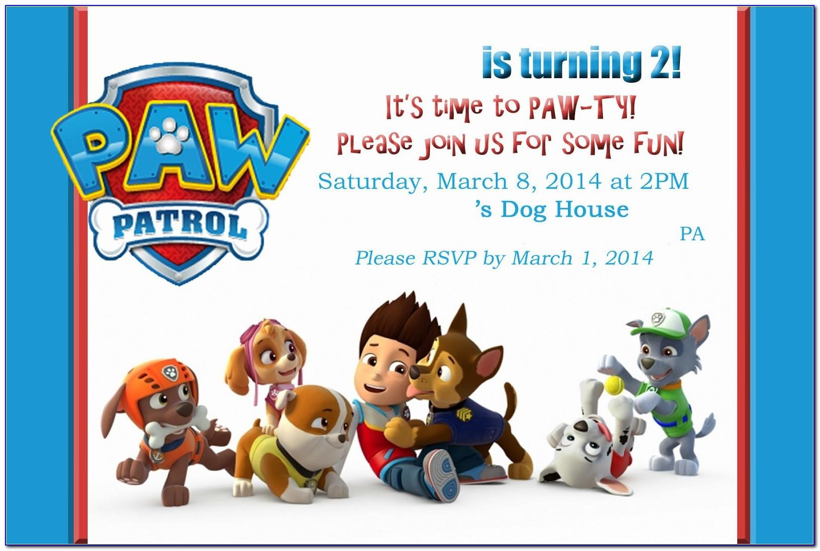 Paw Patrol Invitation Template Blank