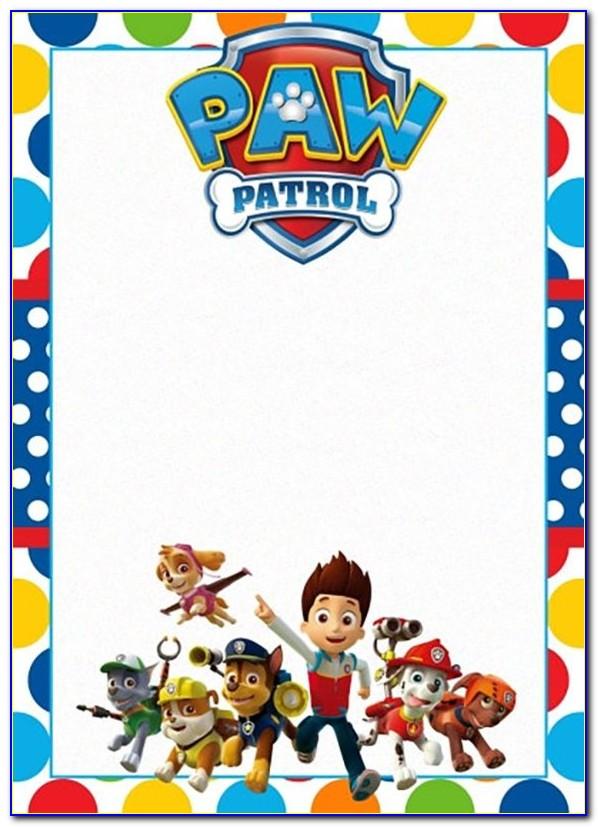Paw Patrol Invitation Template Editable