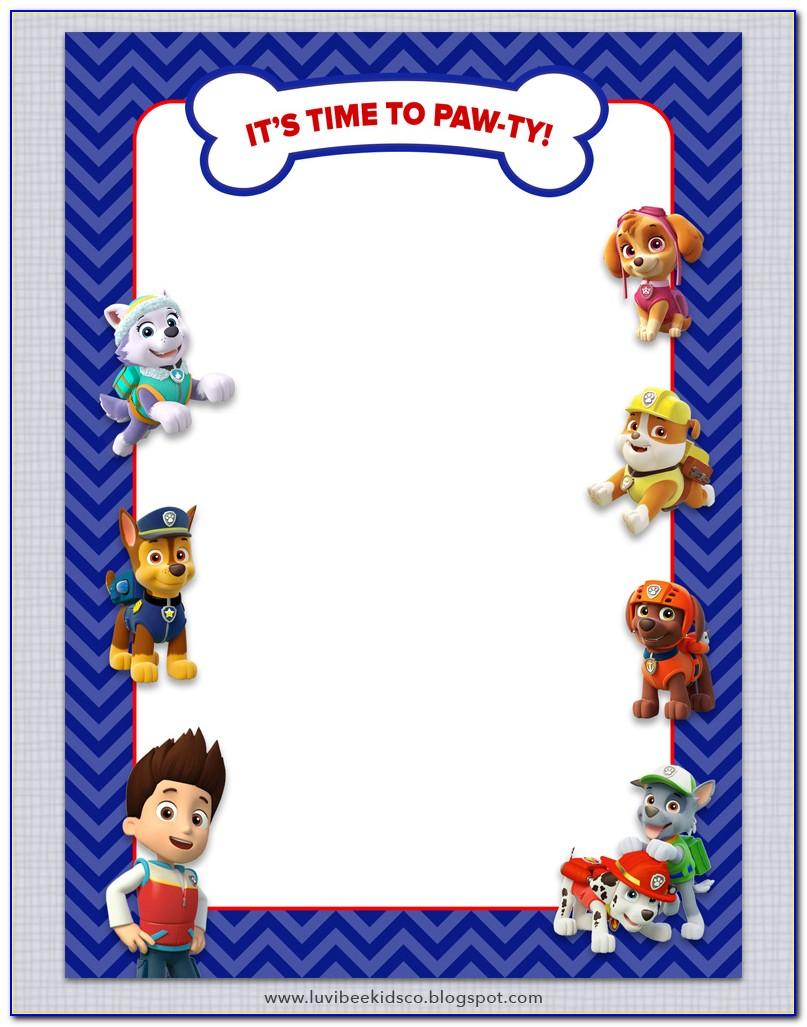 Paw Patrol Invitation Template Free