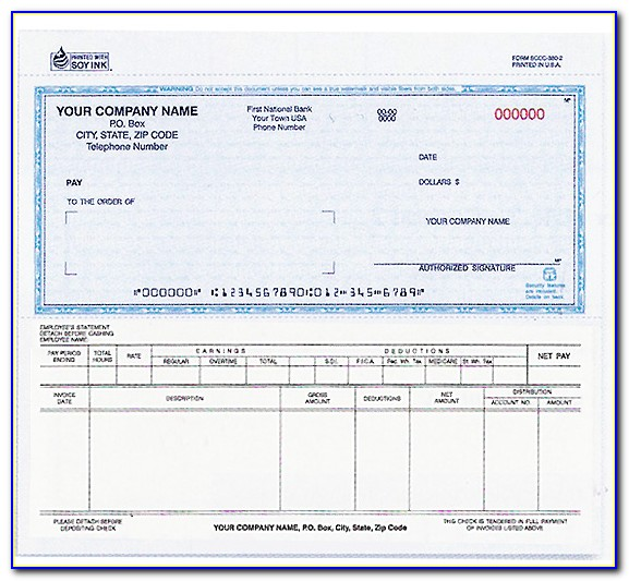 Payroll Check Printing Template
