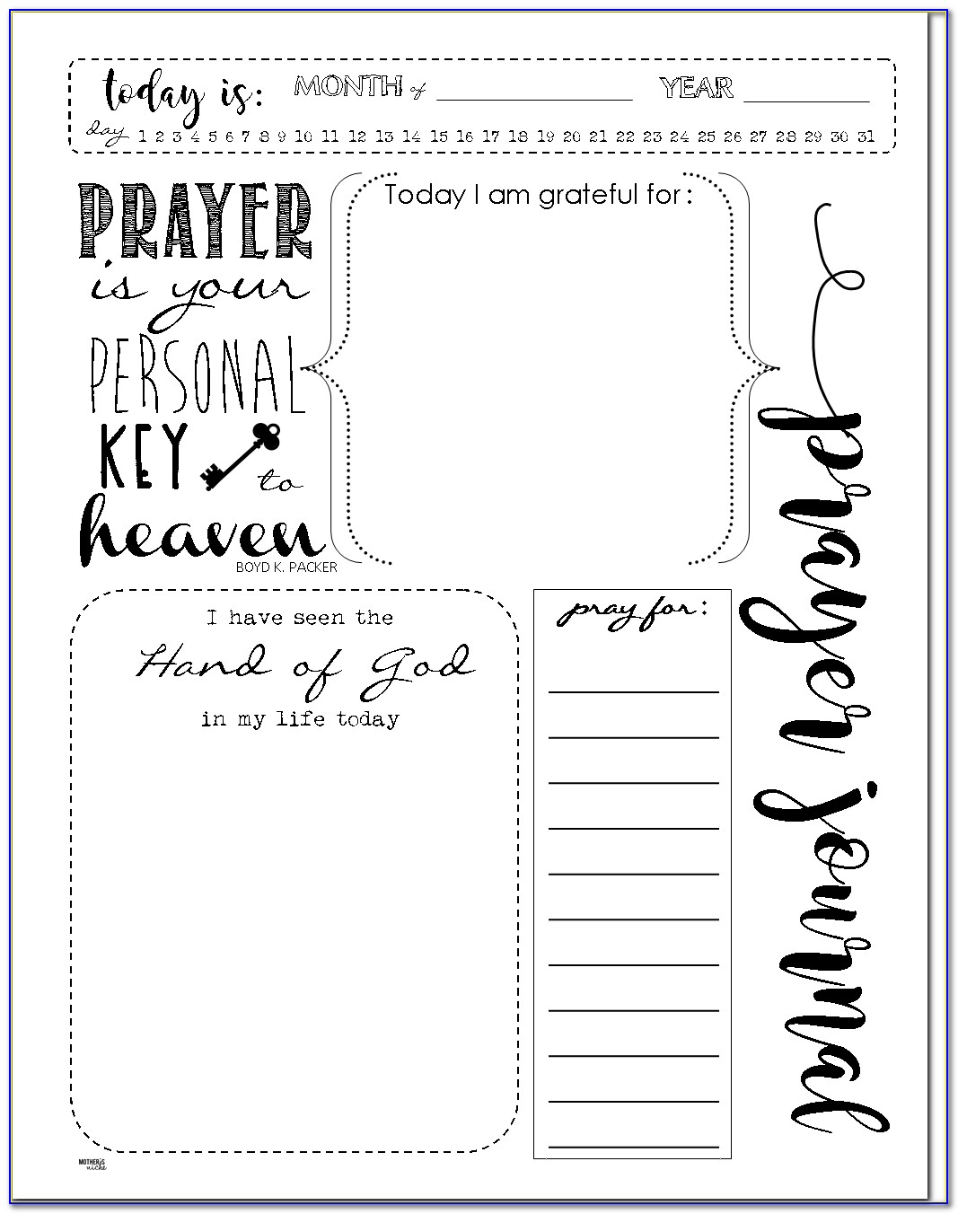 Prayer Journal Template Pinterest