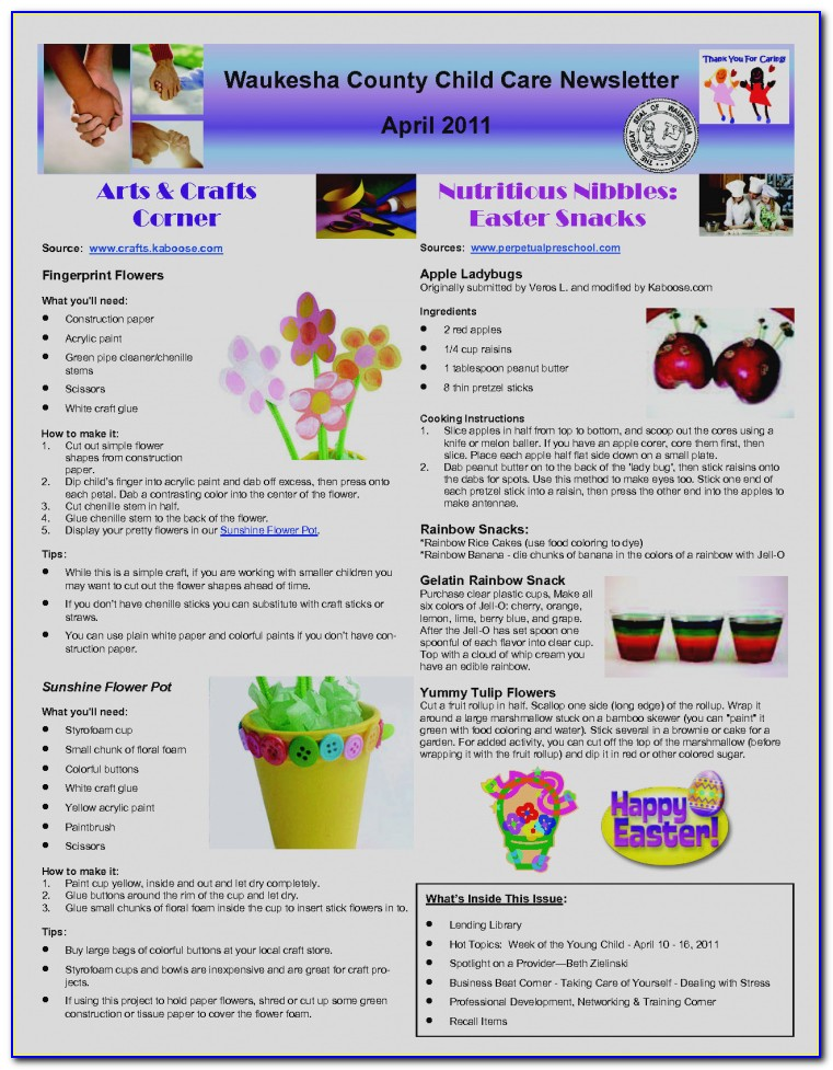 Printable Child Care Newsletter Templates