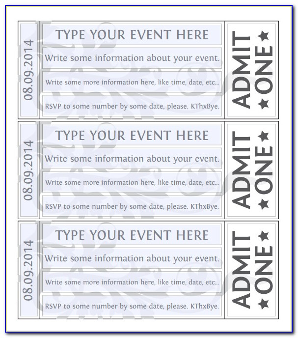 Printable Ticket Template Word