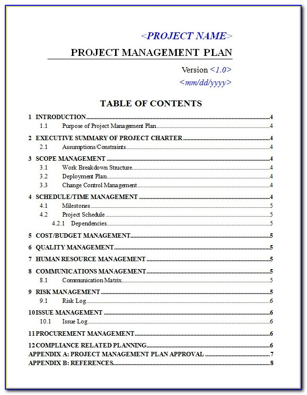 Project Quality Management Plan Template Pmi