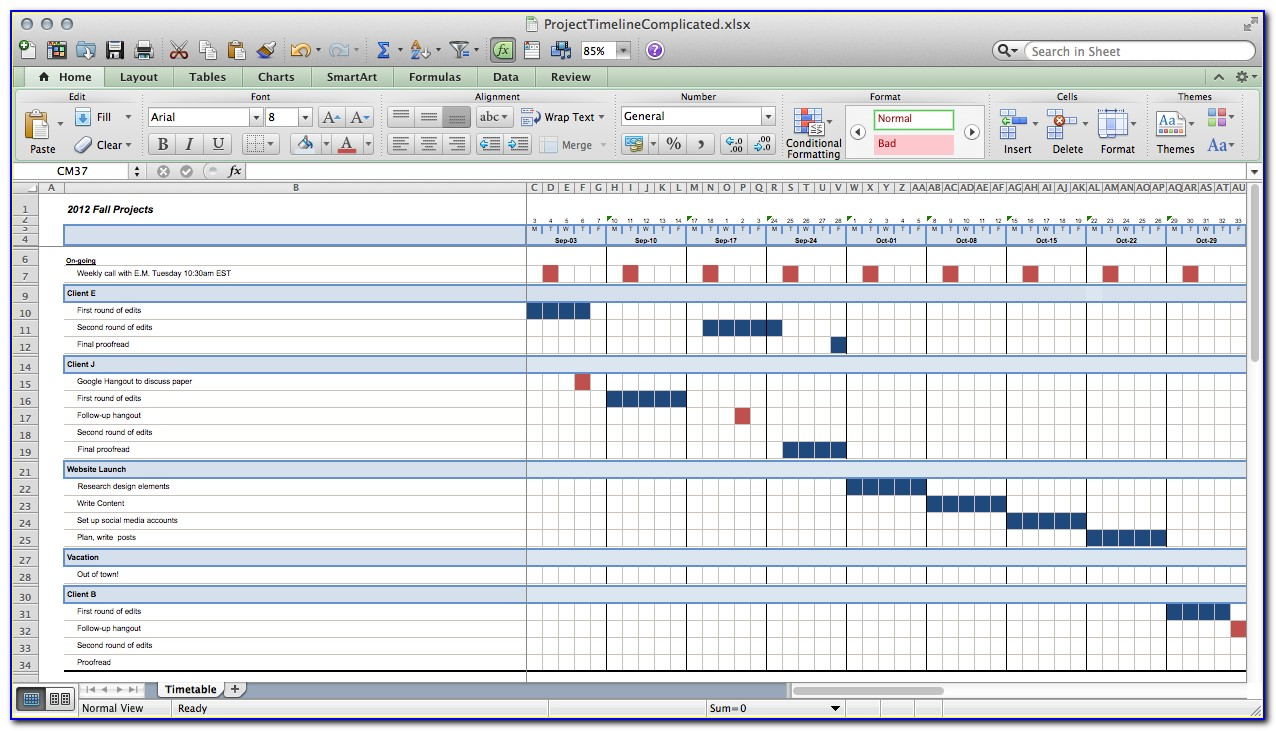 Project Timeline Example Excel