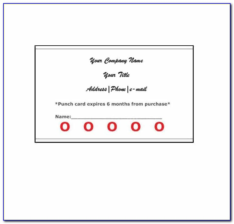 Punch Card Template Psd