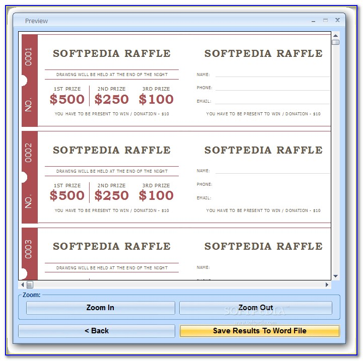 Raffle Tickets Template Word