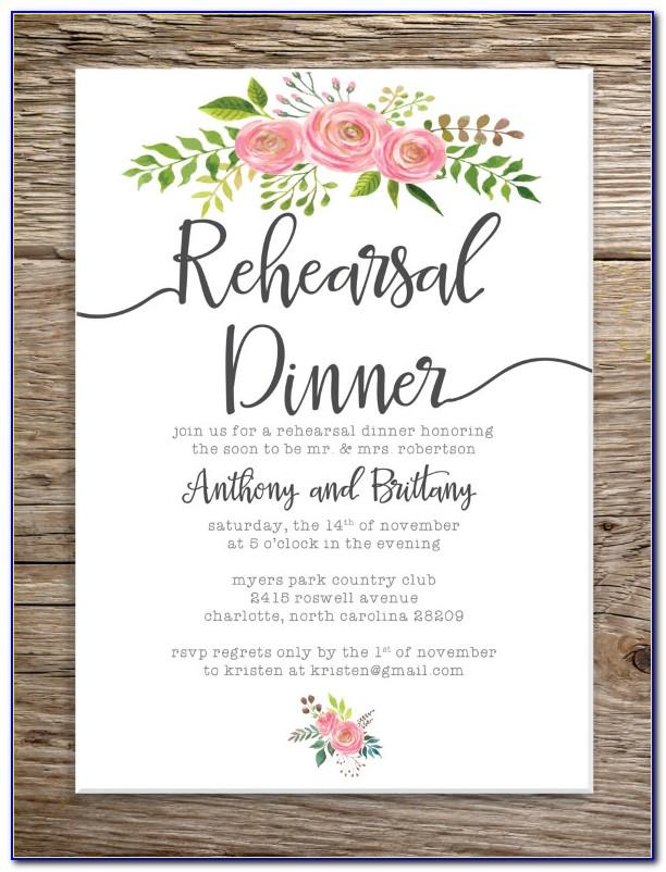 Rehearsal Dinner Invitation Wording Casual