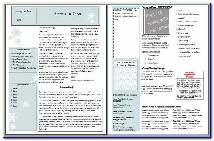 Relief Society Newsletter Template Free