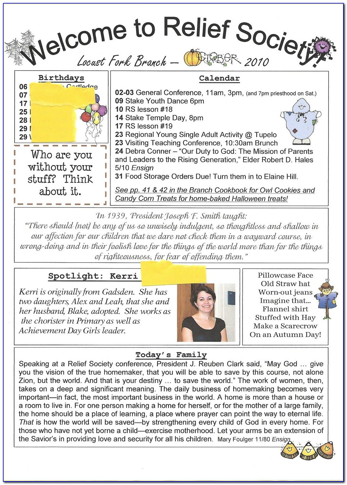 Relief Society Newsletter Templates Free