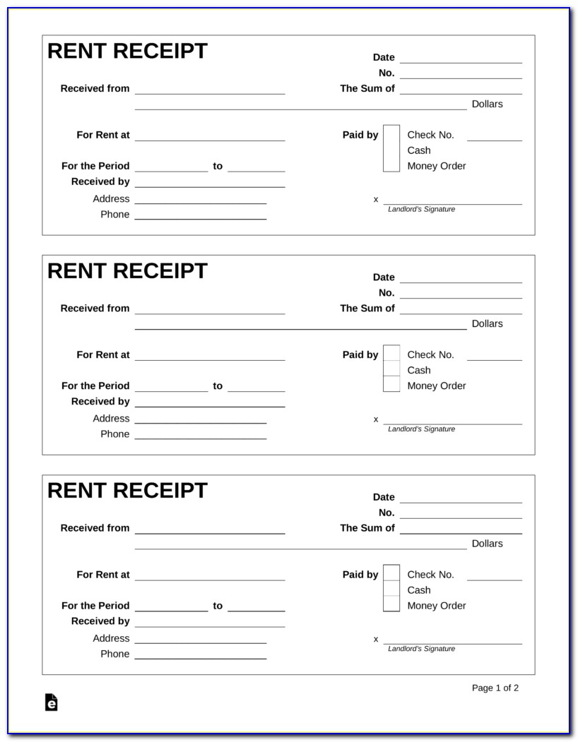 Rental Receipts Format Pdf