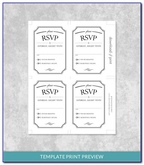 Response Card Template 4 Per Page