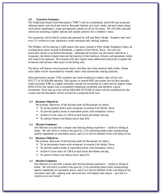 Restaurant Business Plan Sample Pdf Free