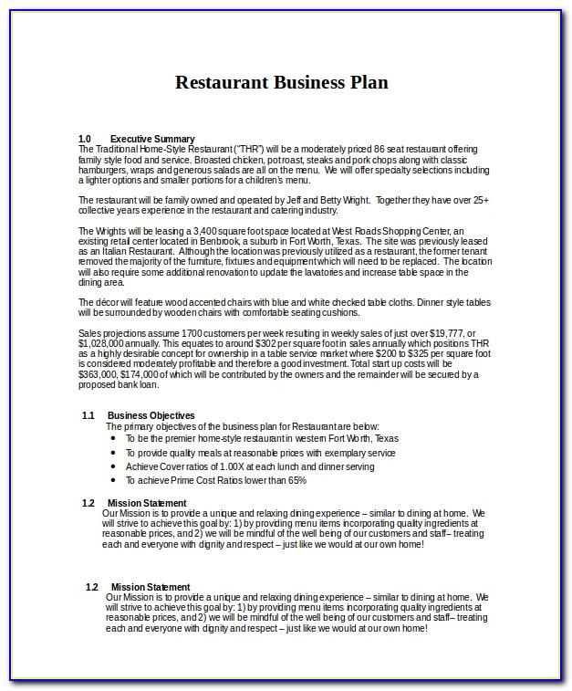 Restaurant Business Plan Sample Pdf