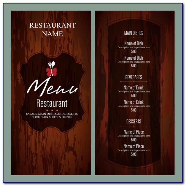 Restaurant Menu Template Free Word