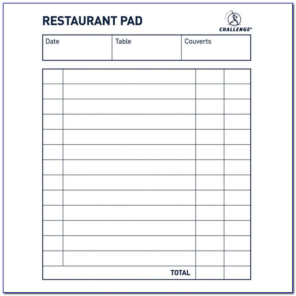 Restaurant Order Pad Template