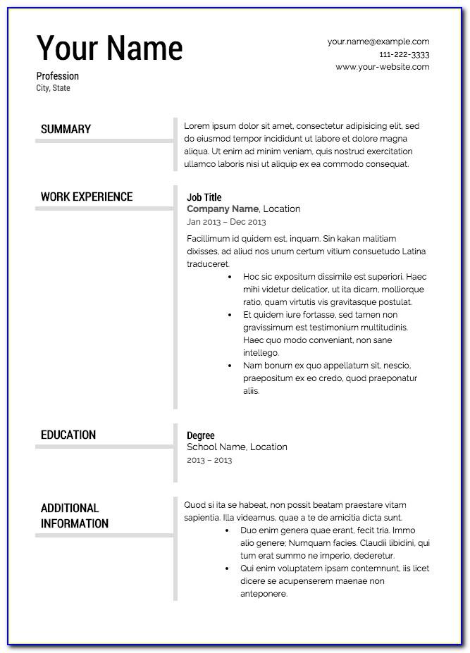Resume Templates Free Downloads