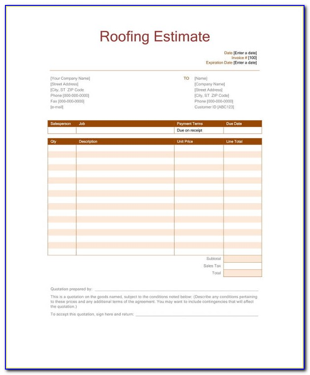 Roofing Estimate Samples