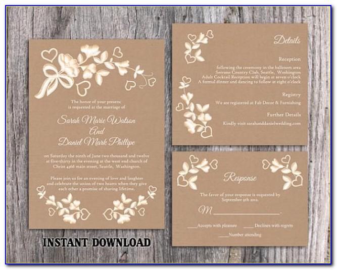Rustic Wedding Invitation Template Free