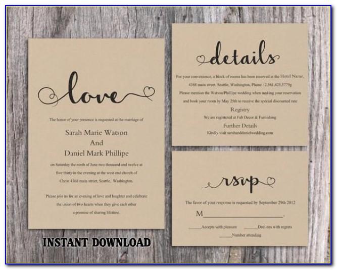 Rustic Wedding Invitation Templates Etsy