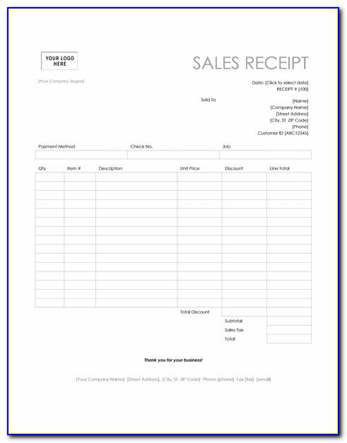 Sales Receipt Template Car