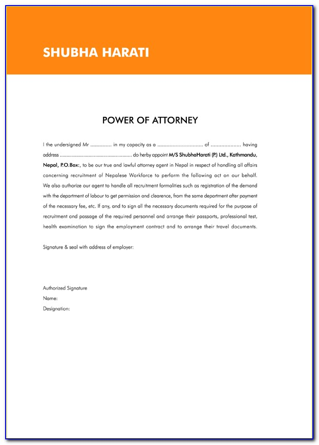Sample Power Of Attorney Document India