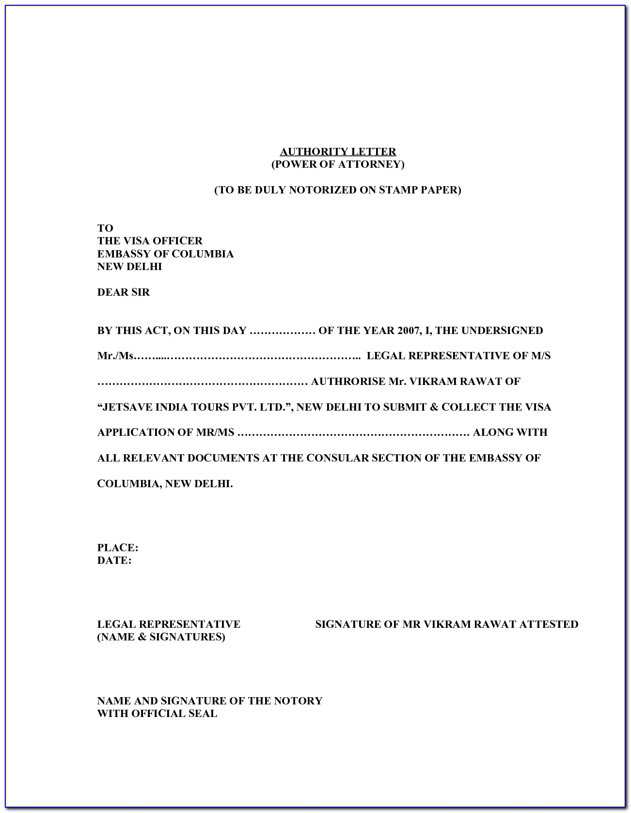 Sample Special Power Of Attorney Template