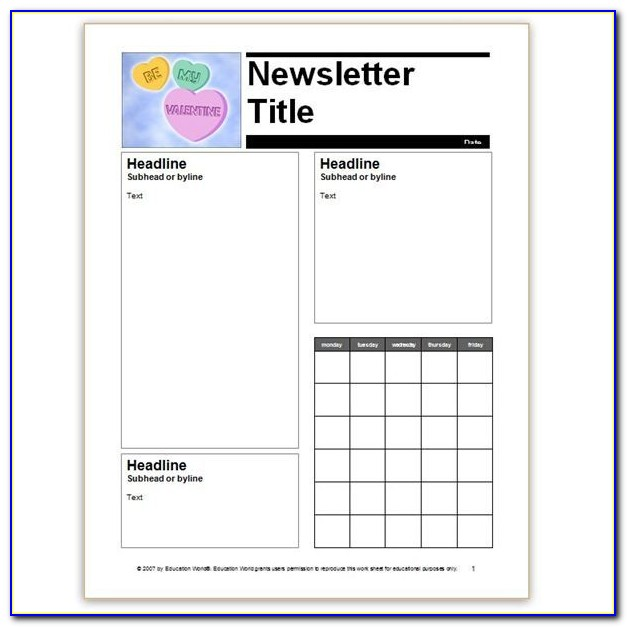 School Newsletter Templates Pdf