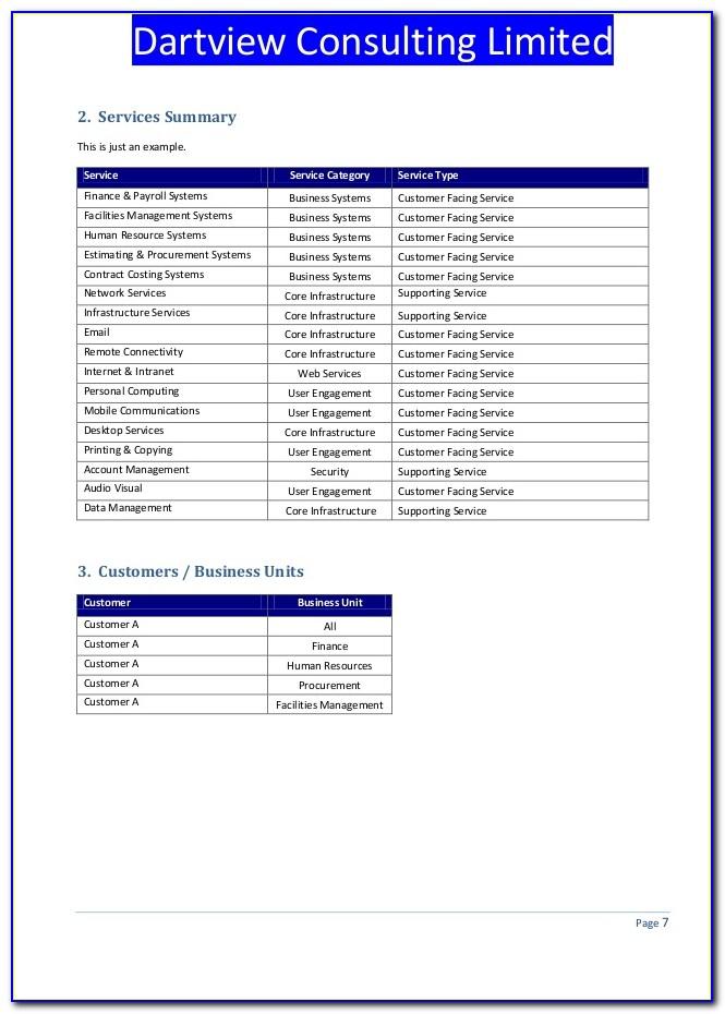 Service Catalog Template Itil V3