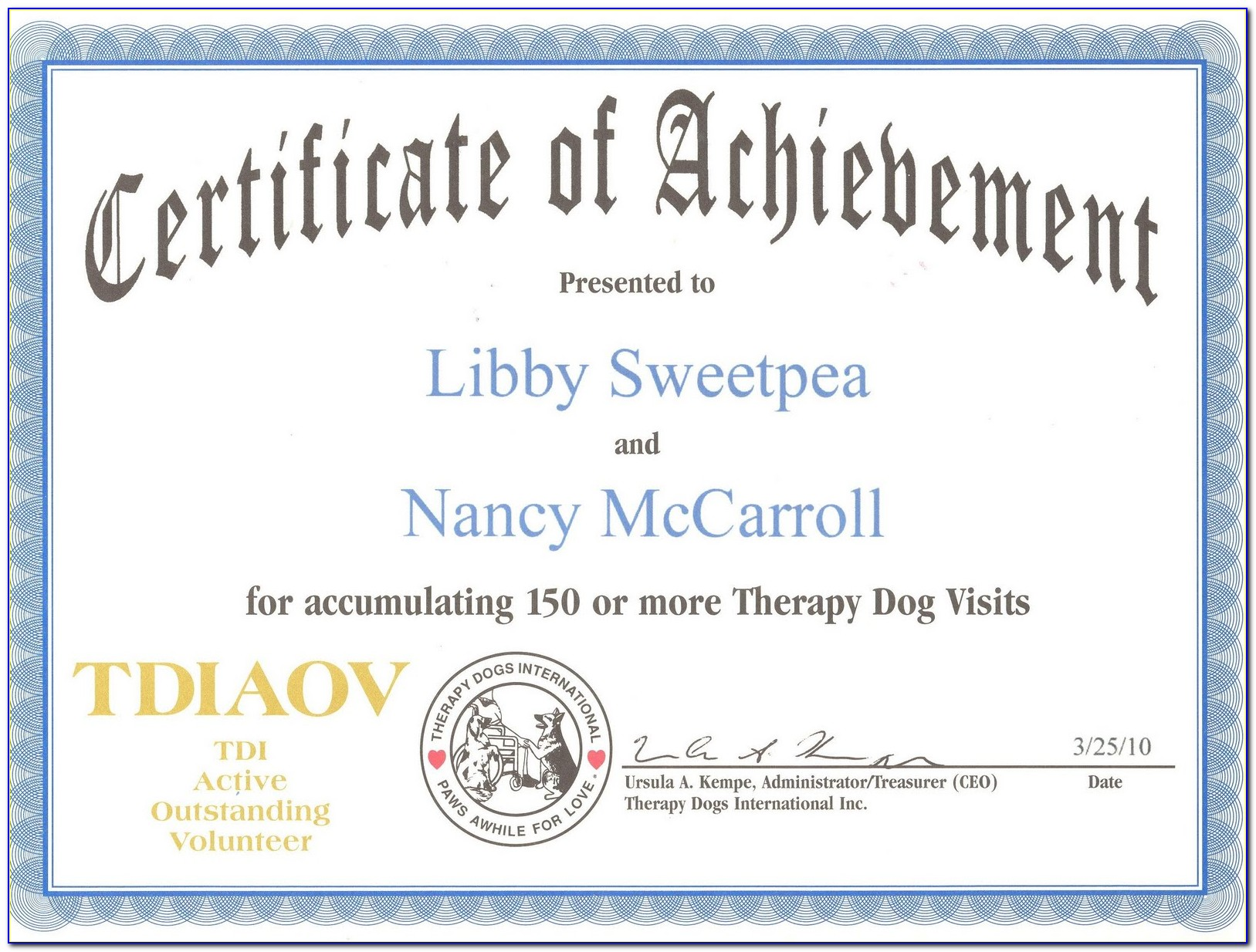 Service Dog Certificate Template Pdf