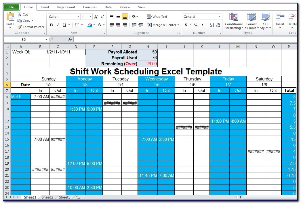 Shift Schedule Template Word