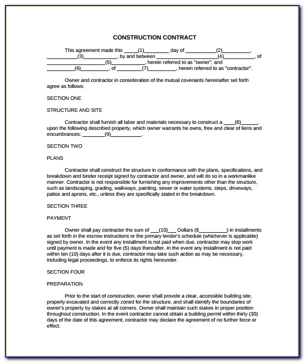 Simple Construction Contract Template Free Uk