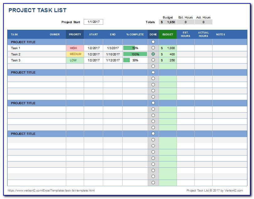 Simple Multiple Project Tracking Template Excel