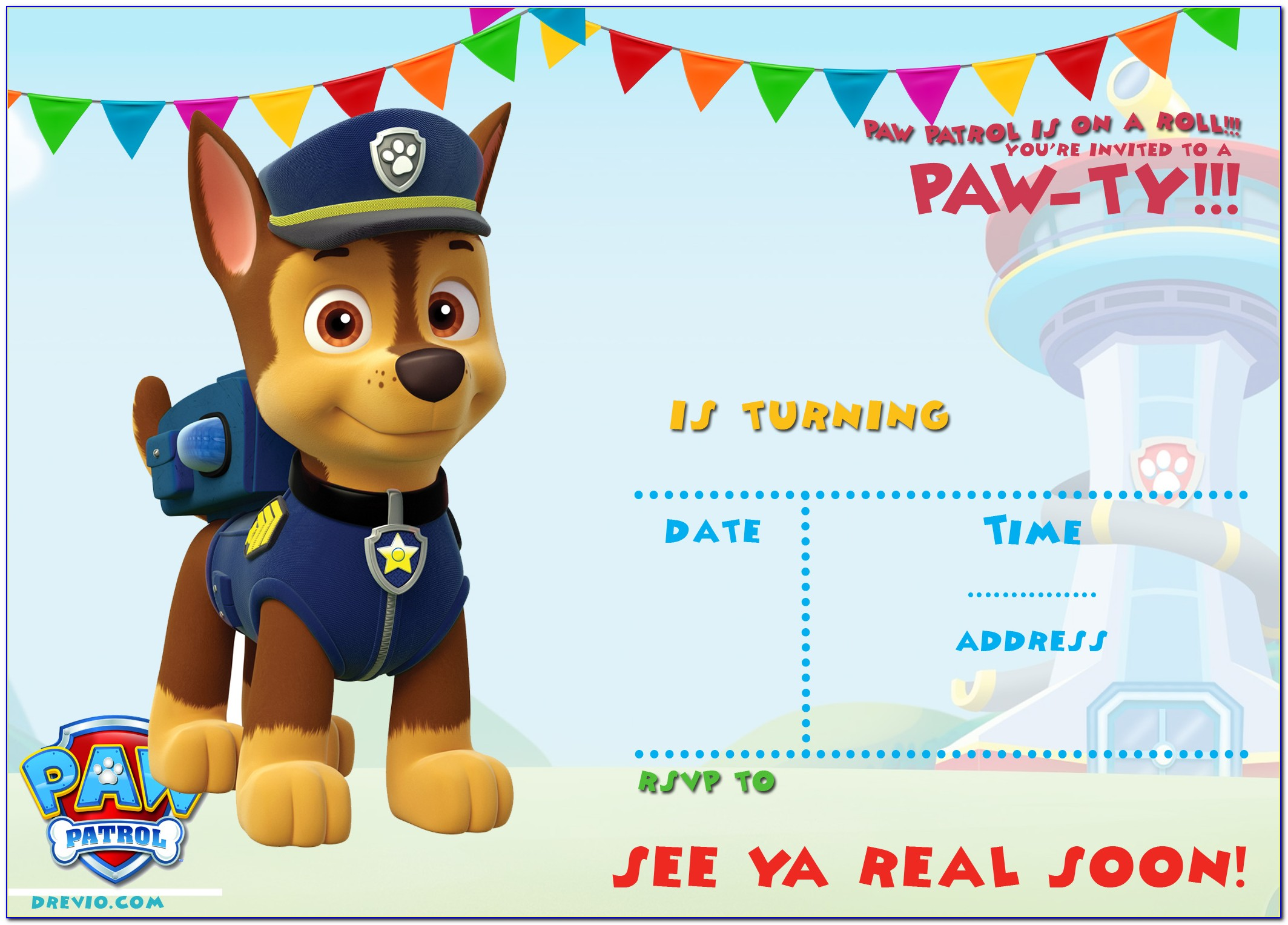 Skye Paw Patrol Invitation Template