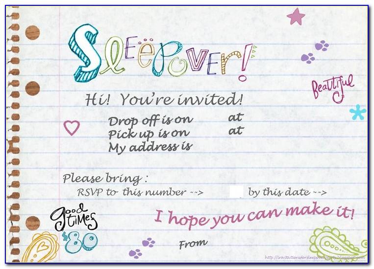 Sleepover Party Invitations Templates Free