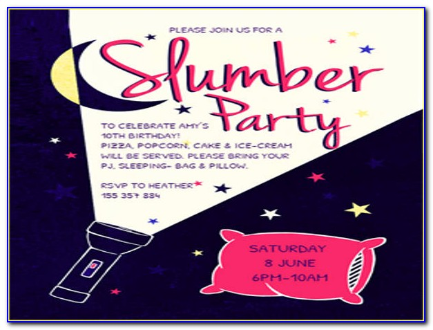 Slumber Party Birthday Invitations Template