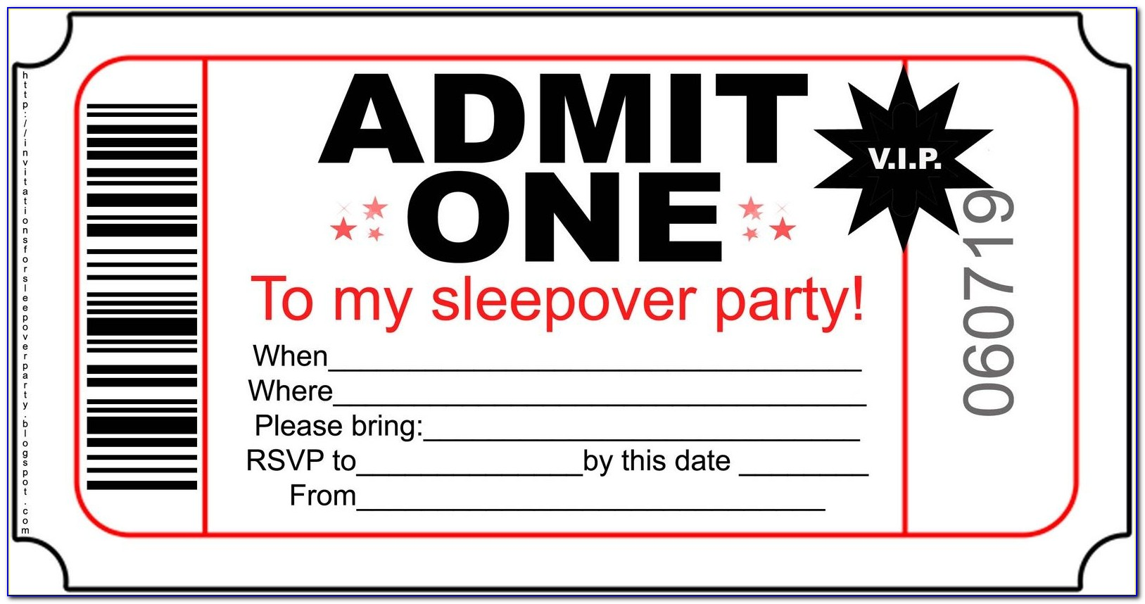 Slumber Party Invite Template Free